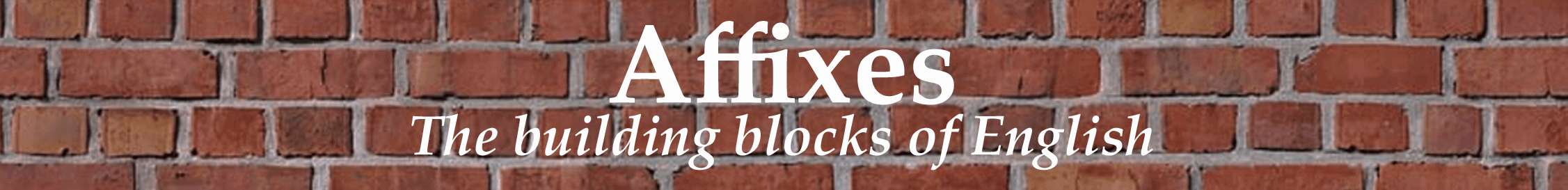 Header image of wall of bricks with affixes